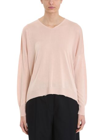 Maison Flaneur Pink Viscose And Silk Knit Sweater