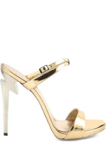Giuseppe Zanotti Rose Gold Mirrored Patent Leather Sandal.