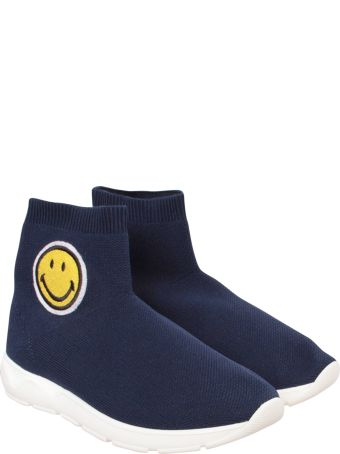 Joshua Sanders Blue Socks Sneaker With Smile