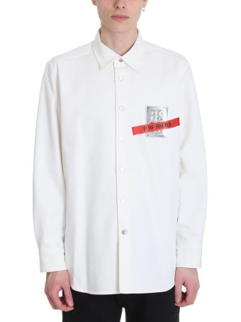Raf Simons Tape And Patch White Denim Shirt