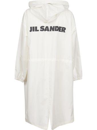 Jil Sander Back Logo Print Concealed Long Coat