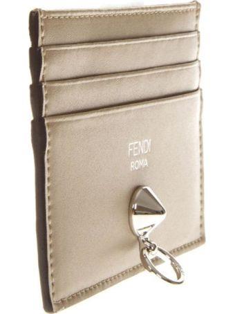 Fendi Taupe Leather Cardholder