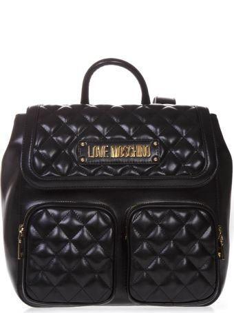 Love Moschino Quilted Black Faux Leather Backpack