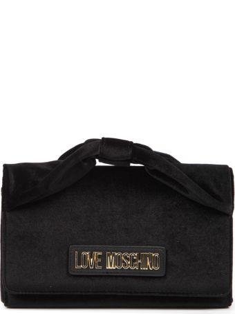 2ac64b5884 Love Moschino Black Velvet Shoulder Bag With Logo. Love Moschino
