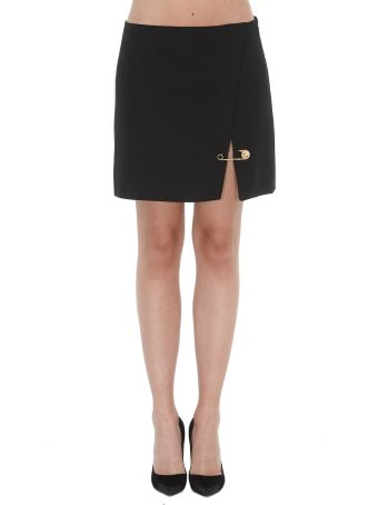 Versace Short Skirt With Medusa Safety Pin Detail