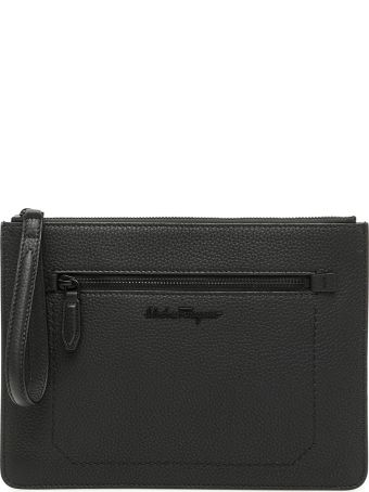 Salvatore Ferragamo Grain Leather Clutch