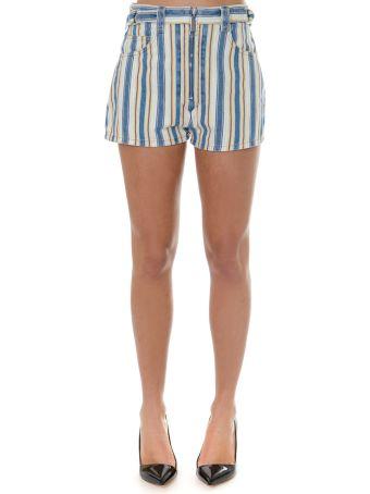 Miu Miu Topaz Striped Shorts In Denim