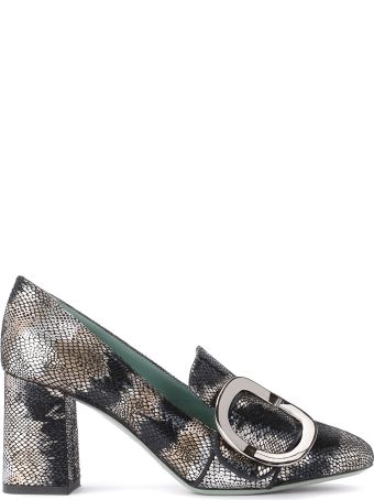 Paola D'Arcano Leather Heeled Loafer Snake Effect