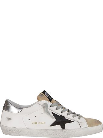 Golden Goose White And Beige Leather Super-star Sneakers