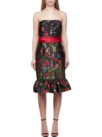 Marchesa Notte Floral Bandeau Dress
