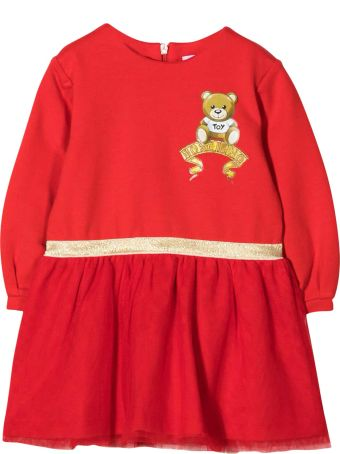 Moschino Red Dress With Logo And Toy Embroidery
