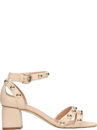 Julie Dee Beige Leather Sandals