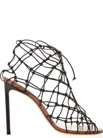 Francesco Russo Black Leather Fishnet Sandals