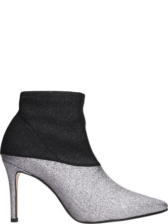 Marc Ellis Black Silver Lurex Stretch Ankle Boots