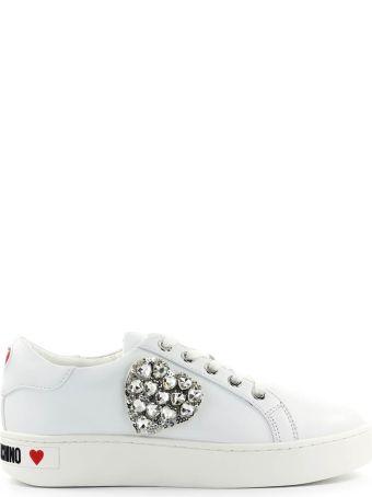 Love Moschino Swarovski Heart White Sneaker