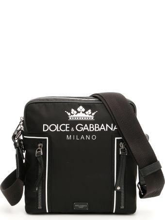 Dolce & Gabbana Nylon Messenger Bag With Crown And Logo