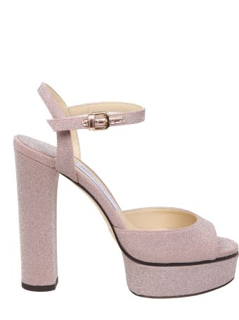 Jimmy Choo Peachy Sandal In Pink Glitter