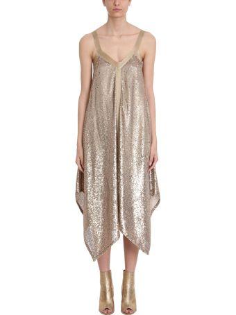 L'Autre Chose Gold Sequins And Lurex Dress
