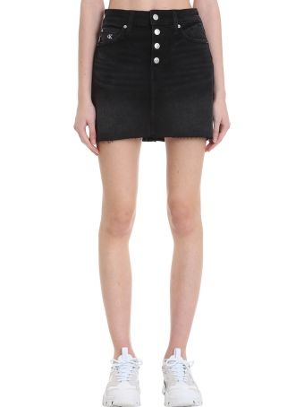 Calvin Klein Jeans Skirt In Black Denim