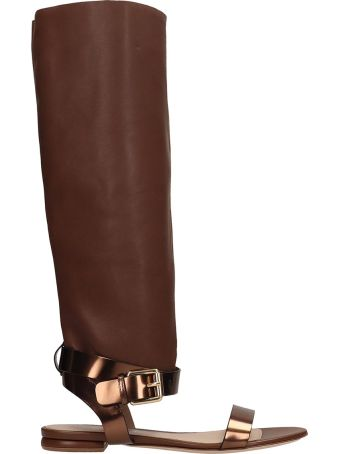 Dei Mille Brown Leather Slave Sandals