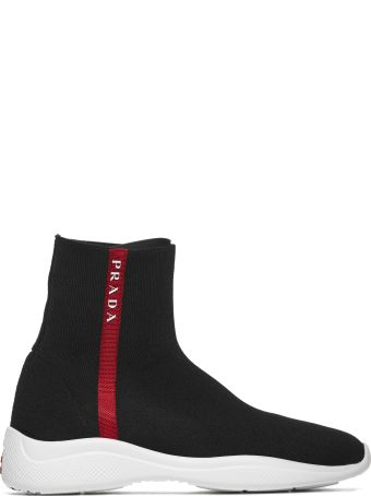 Prada Linea Rossa Logo Striped Hi-top Sneakers