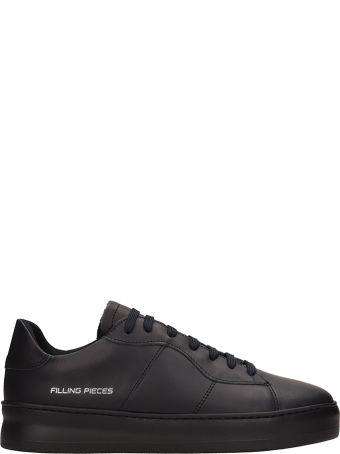 Filling Pieces Black Leather Light Plain Court  Sneakers
