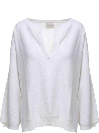 Fine Edge Puff-sleeve Rib-knit Wool Sweater