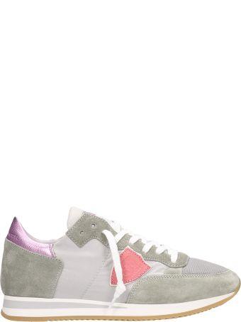 Philippe Model Tropez Grey Pink Suede Sneakers