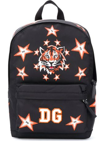 Dolce & Gabbana Black Backpack With Mulricolr Tiger Print Dolce&gabbana Kids