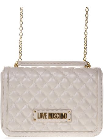 Love Moschino Quilted Ivory Faux Leather Shoulder Bag