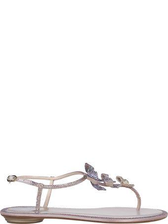 René Caovilla Embellished Bow Sandals