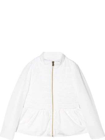 Herno White Padded Jacket With Ruffles