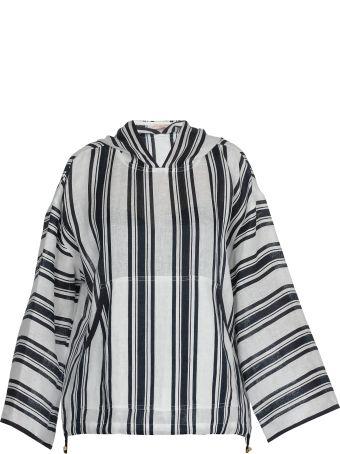 Tory Burch Awning Stripe Hoodie Sweater