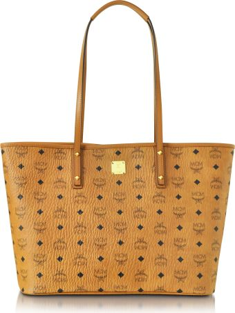 MCM Anya Cognac Top Zip Medium Shopping Bag
