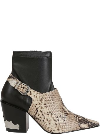 Toga Pulla Snakeskin Buckle Detail Boots