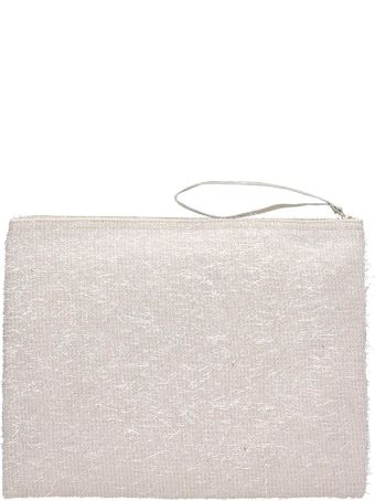 Anniel Big Clutch Furry Lurex White Pochette