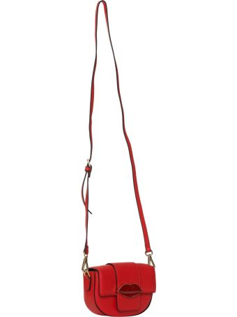 Essentiel Antwerp Pink Belt Bag With Red Lips In Red