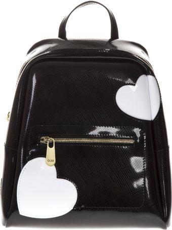 Gianni Chiarini Black Glossy Heart Backpack