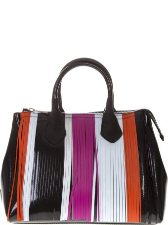 Gianni Chiarini Black Gum Bag With Multicolored Fringe