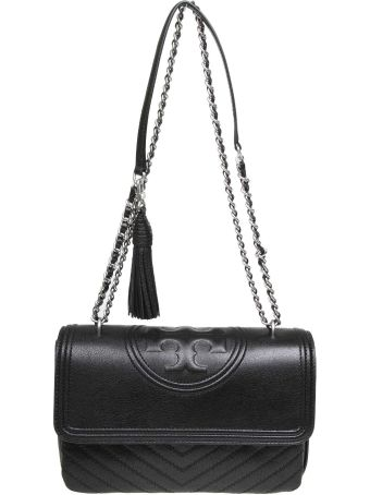 Tory Burch Bag Fleming Distressed Convertible In Black Leather