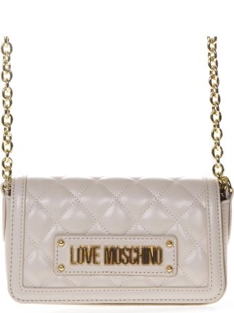 Love Moschino Shoulder Bag In Ivory Quilted Faux Leather