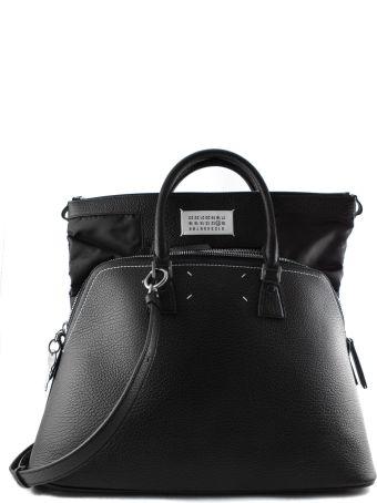 36268df5032b Maison Margiela Black Leather Bag With Double Handle.