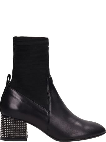 Marc Ellis Black Leather And Fabric Ankle Boots