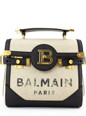 Balmain Beige And Black Canvas B-buzz 23 Bag