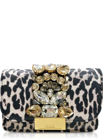 Gedebe Mini Cliky White Leopard Print Leather  Clutch