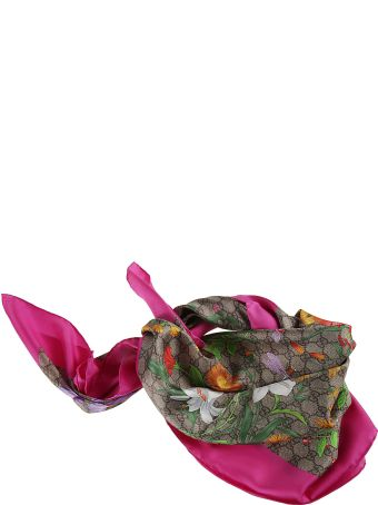 Gucci Floral Print Double G Motif Twill Foulard
