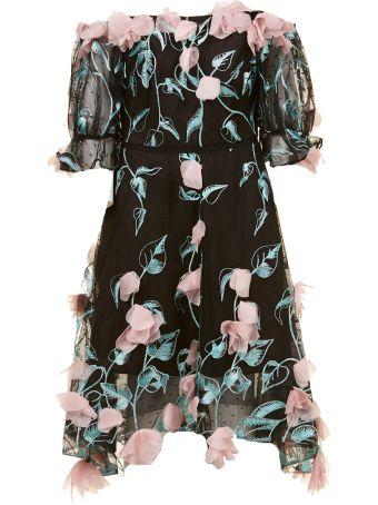 Marchesa Notte Off-shoulder Midi Dress