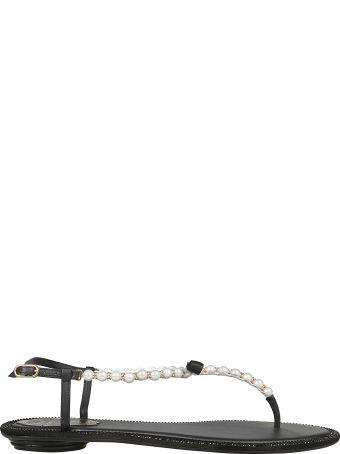 René Caovilla Pearled T-bar Sandals
