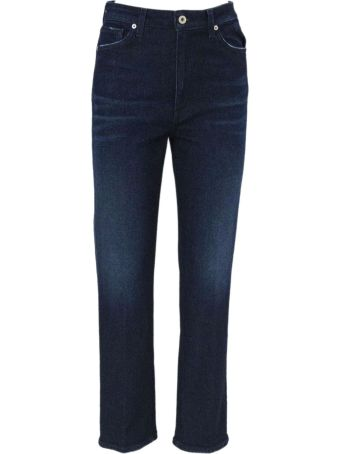 Dondup Blue Cotton Straight Stretch Jeans.