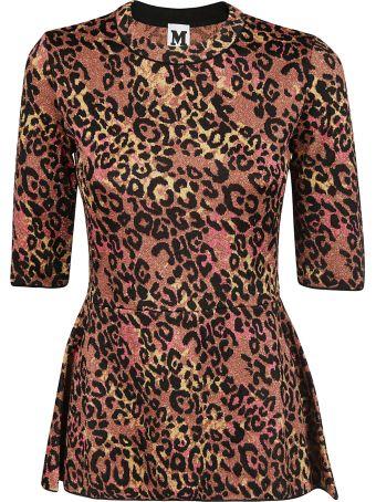 M Missoni Leopard Print Peplum Top